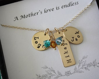 Personalized Mother Necklace Gold, Gold Personalized Necklace, Grandma Necklace, Name Charm Gold, Mother's Day Card