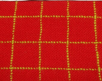Vintage red and yellow plaid woven fabric Q1011 medium weight crafting sewing costume making