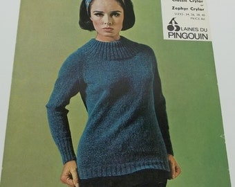 Vintage women sweater knitting pattern by Pingouin no 714 size 36,38,40