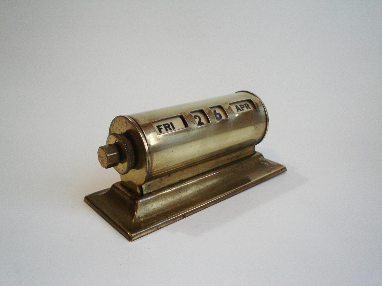 Perpetual Calendar Desk : Vintage brass perpetual desk calendar retro office supplies