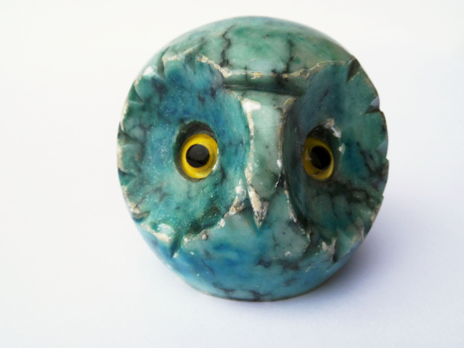 Green Marble Ball : Blue owl paperweight carved marble ball figurine vintage