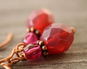 Pink and copper petite dangles earrings