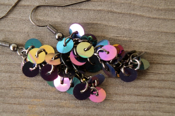 Dark iris sequin cluster earrings