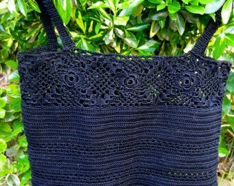 Crochet  Black Camisole, Lacey Crop Top, Luxe French Cotton Cami,  Spring Summer Fashion, Cruise, Beach,  Size 0 to 6, Women & Teens