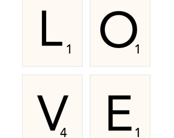 Scrabble LOVE Print Collection, art, poster, typography