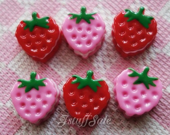Miniature strawberry cake cabochons