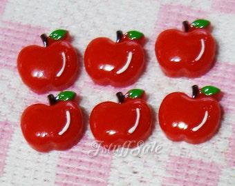 6 pcs - Tiny red apple cabochons