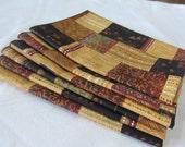 Cloth Napkins Geometric Brown Toned Set of 6