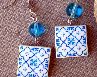 Portugal Antique Blue Azulejo Tile  Replica Earrings from Porto- Ribeira - Arab Persian Majolica  waterproof and reversible 751