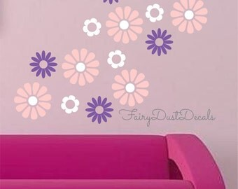 Flower Blooms wall decals, Set of 30, Daisy Flower Wall Decals, nursery wall stickers, vinyl wall flowers, daisy decals for wall, flowers