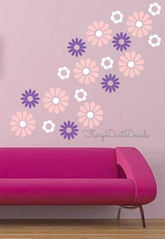 Flower Blooms wall decals Set of 30 flowers - Flower Wall Decals - Girl Bedroom Wall Decor - vinyl wall decals - flower decals - little girl