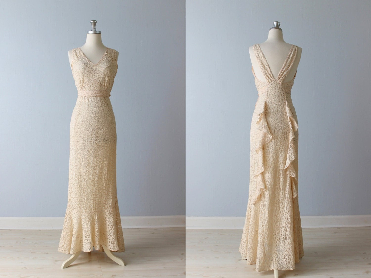 1930s Wedding Dress / 30s Wedding Gown / 30s Lace Dress / Pink