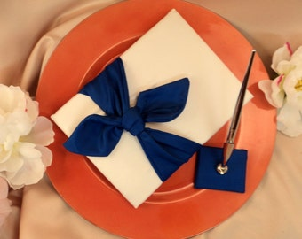 Knottie Style Satin Guest Book...You Choose The Colors..Shown in ivory/royal blue cobalt