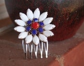 H181 RED White and BLUE Patriotic FIRECRACKER Vintage Upcycled Rhinestone Flower Bridal Hair Comb