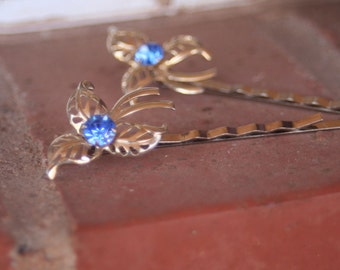 H42-43 Vintage Upcycled Something Sapphire Blue Rhinestone Hair Pins Set of Two