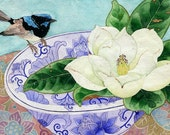 Magnolia and fairy wren: Gabby Malpas watercolour C6 greeting card and envelope