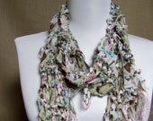 GladRagz Chiffon Fashion Scarf in Green, White, Brown, Blue, Pink  - Ready To Ship Women's Shredded Knotted Girl's Knit Long Scarf