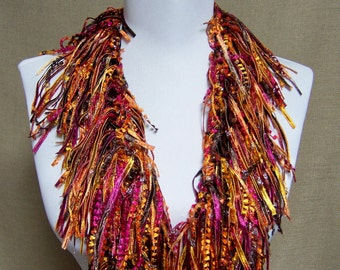 Fringe Binge Necklace Scarf in Magenta, Gold, Brown, Purple, Sparkle Ready to Ship Infinity Scarf Circle Scarf Knotted Crochet Multicolor
