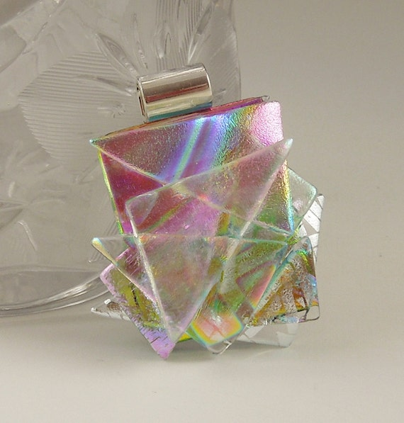 Dichroic Fused Glass Pendant,  Dichroic Glass Jewelry, Dichroic Necklace, Rainbow Pendant X2318