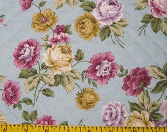 Pre Quilted Fabric Half Meter Cut Roses Design burgundy or Blue
