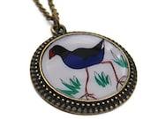 Pukeko bird pendant necklace New Zealand jewellery in antique brass, NZ jewelry, wearable art, blue, gray