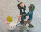 ZOMBIE Wedding Cake Topper - Custom Made to Order Bride and Groom PLUS 3 Additional ZOMBIES