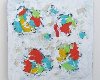 White Abstract Original Acrylic Painting on canvas, Wall Art, Turquoise and coral, gift idea