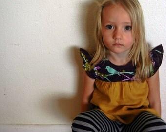 Toddler Girls Mustard Linen and Purple Bird Print Dress/ Shirt with Pockets. Sizes 12 months-8 years.