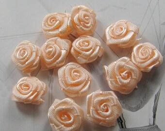 14mm - peach pink ribbon rose - 30 pcs (Rib-F-041)