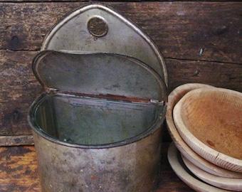 Primitive Antique Tin Salt Box With Glass Insert Early Tinware Primitive Decor Hanging Salt Box