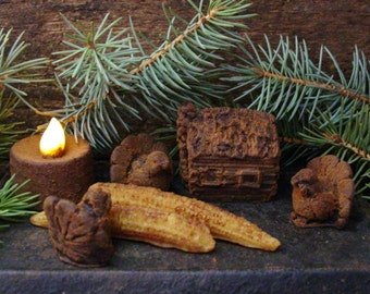 Primitive Thanksgiving Beeswax Melts, Primitive Log Cabin Turkey & Corn, Scented Beeswax Tarts, Rustic Cabin Decor, Wax Melts, Wax Tarts