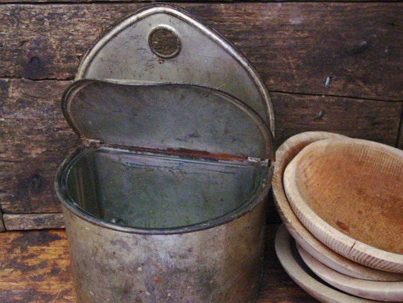 Primitive Antique Tin Salt Box With Glass Insert Early Tinware