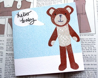 Hello Baby Card, Teddy, Blue, Baby Boy, Congratulations, New Baby