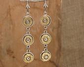 Bullet Jewelry - Triple 9mm Bullet Casing Dangle Earrings - SureShot Bullet Designs