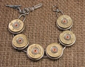 Shotgun Casing Jewelry - Bullet Jewelry - Shotshell Designs - Brass 20 Gauge Shotgun Casing Bracelet