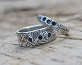 reserved for the fabulous a. a fair trade sapphire wedding band . thin orions belt recycled silver wedding ring