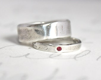 ruby wedding band engagement ring set . wide recycled silver bohemian wedding ring set . thoreau quote rings . made to order