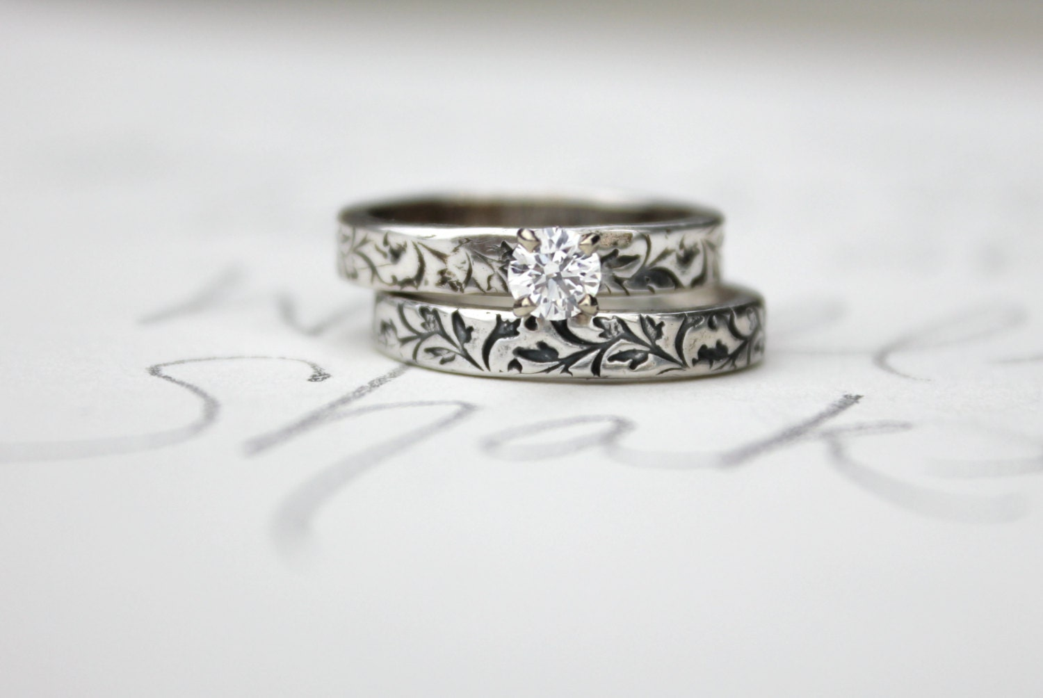 Custom ethical diamond engagement ring wedding band set for Ethical wedding rings