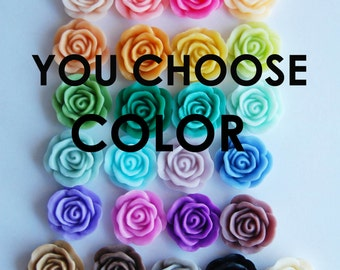 Rose Flower Plugs- Hidden Gauges You Choose Color. You Choose Sizes: 8mm, 10mm,11mm,12mm,13mm,16mm