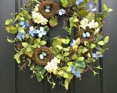 Shabby Chic Wreath, Country Charm Decor, Country French Wreaths, Bird's Nest Wreath, Blue Robin Eggs. Blue Flowers,  Spring Nature Wreath