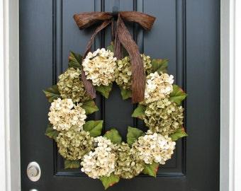 Wreaths - Hydrangea Wreath - Green Hydrangea Blooms - Wedding Decor - Wreaths for Spring - Spring Summer Wreaths - Brown Ribbon Bows
