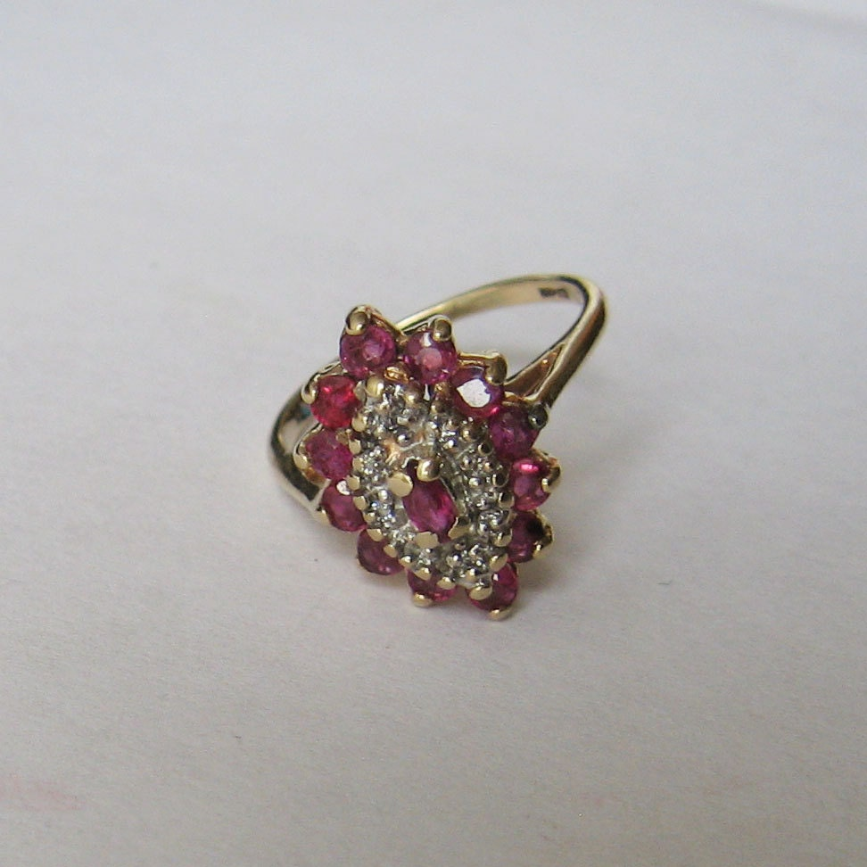 antique ruby and cocktail ring in 10k gold size 5 75