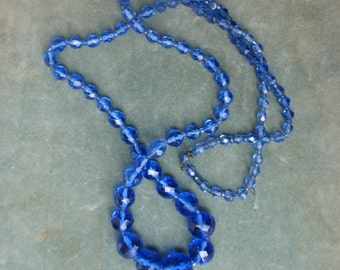 A Vintage Crystal Necklace of Graduated Blue Faceted Beads