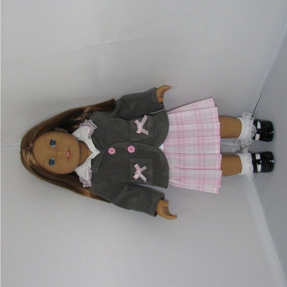 Pink and Gray Blazer, Skirt and Shirt, Fits American Girl and 18 Inch Dolls