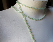 FULL Yard Glass Bead Chain  in Peridot AB for Rosary, Bridal, Jewelry, Eyeglass Chains, Sweater Clips, or Costume Design