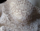 Fat Quarter Alencon Lace in Champagne Latte for Bridal, Mother of the Bride,  Clutches, Skirts, Costumes