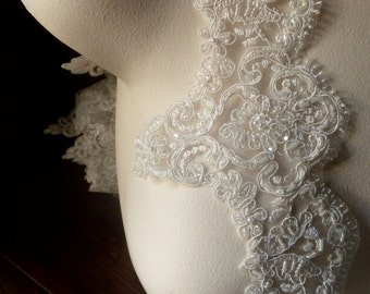 Ivory Cream Beaded Lace Light Ivory Scalloped for Bridal, Costume Design BL 108