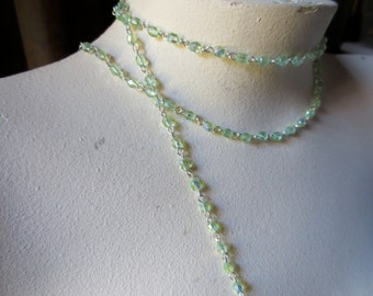 1YD. Glass Bead Chain  in Peridot AB for Rosary, Bridal, Jewelry, Eyeglass Chains, Sweater Clips, or Costume Design