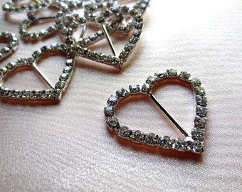 2 Rhinestone BuckleS Heart Shaped Small for Valentine, Bridal Design, Sewing, Costume Design