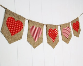 MADE to ORDER - Shabby Heart Valentine's Day Banner by sweetcarolinehome on Etsy